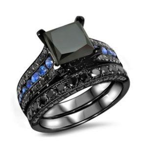 Black Sapphire Blue Accent 2pc Wedding Size 9